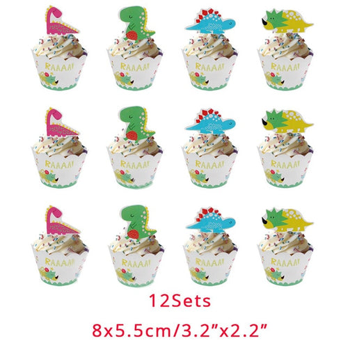 12 Piece Dinosaur Party Cupcake Birthday Celebration Liners