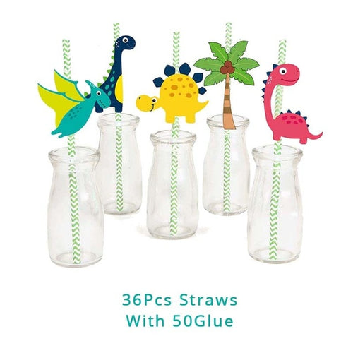 36 Dino-StRWARs Straws Dinosaur Party Disposable Tableware Kids Birthday Party Supplies Favors Roar Dino Party Decor