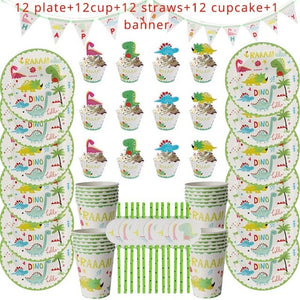 49 Piece 12 Person Place Setting Dinosaur Birthday Party Disposable Tableware Place Settings