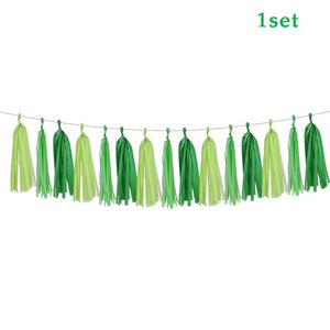 Tassel banner  Dinosaur Party Disposable Tableware Kids Birthday Party Supplies Favors Roar Dino Party Balloons Decor