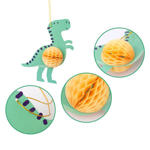 3pcs Dinosaur Theme Honeycomb Hanging Decorations Baby Boy Shower Kids Birthday Party Supplies Classroom Decor