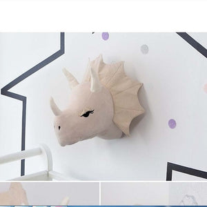 Plush Dinosaur Head Wall Mount Stuffed triceratops and T-Rex Options