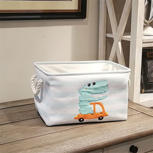 Fabric Laundry Basket Bag Embroidery Canvas Linen Dinosaur Cartoon Canvas Storage Basket Dirty Clothes Sundries Household Organi