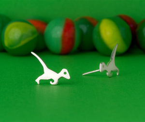 Dinosaur Velociraptor Stud Earrings Silver Plated Or Gold Look *FREE ITEM