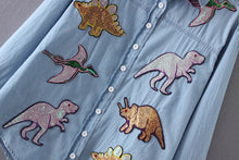 Women's Dinosaurs Sequin Patch Chambray Button Down Shirt