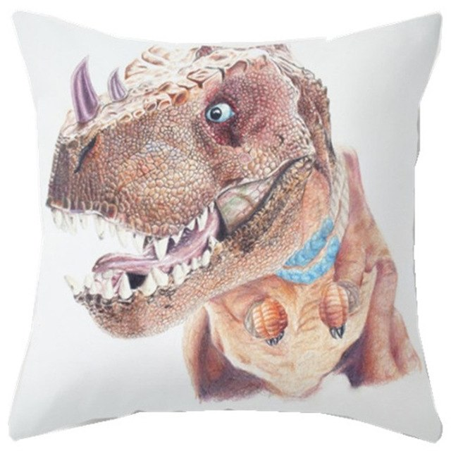 Fiercely Colorful Dinosaurs Cushion Covers Throw Pillow Cases
