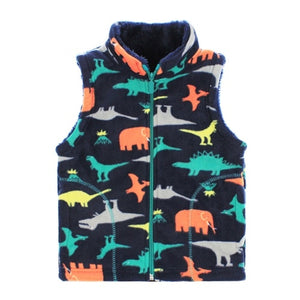 Fleece Faux Fur Lined Zip Up High Collar Dino Vest