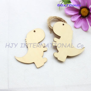 50 Piece 70mm Blank Unfinished Wooden Dinosaur Gift Tags