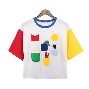 Embroidered Dino Portal Color Block T-shirt