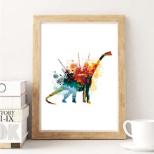 Watercolor Dinosaurs Poster Prints  Art Canvas Painting Multiple Print Options