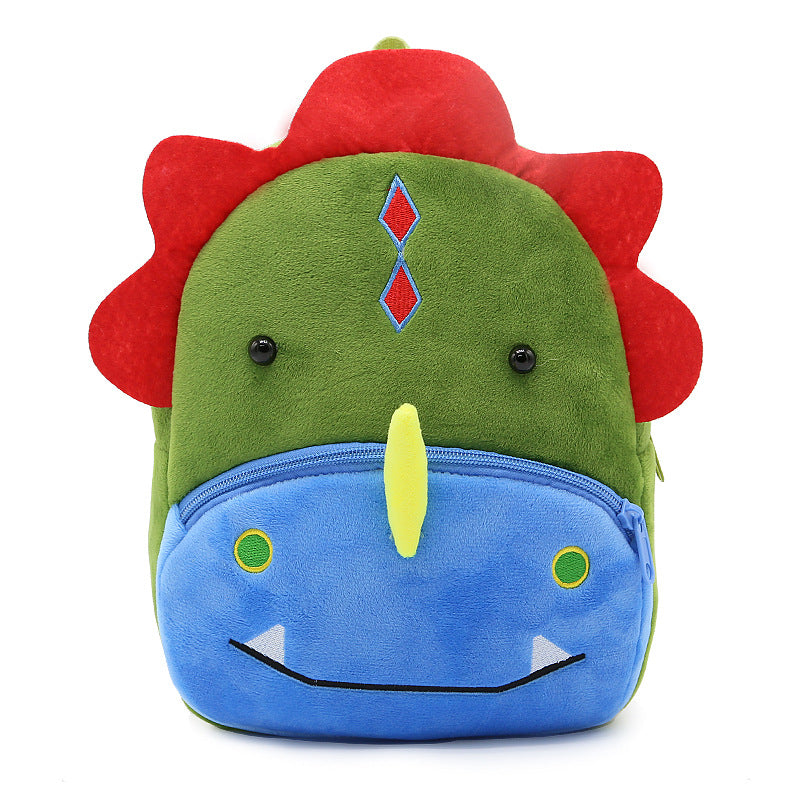 Colorful Velvet  Plush Dinosaur Backpack