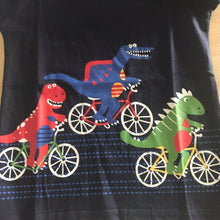 Long Sleeve Striped  Dinosaur Bicycle Grunge Cotton Top