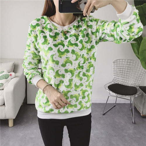 Flannel Kawaii Green Dinosaur Light Sweatshirt