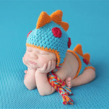 Newborn Crochet Knitted Dinosaur Hat and diaper cover set