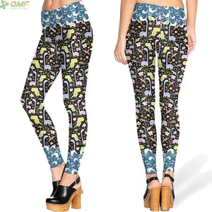 Multi Color Dinosaur Print  High Waist  Fitness Legging