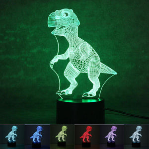 3D T-Rex Color Changing LED Dinosaur Hologram Neon Night Lamp