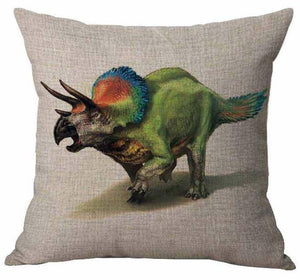 Pretty Birdy Triceratops Cotton Linen Pillow Cover