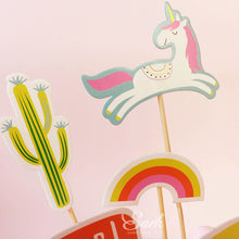Set Of  Dino Unicorn and Cactus Cake Toppers