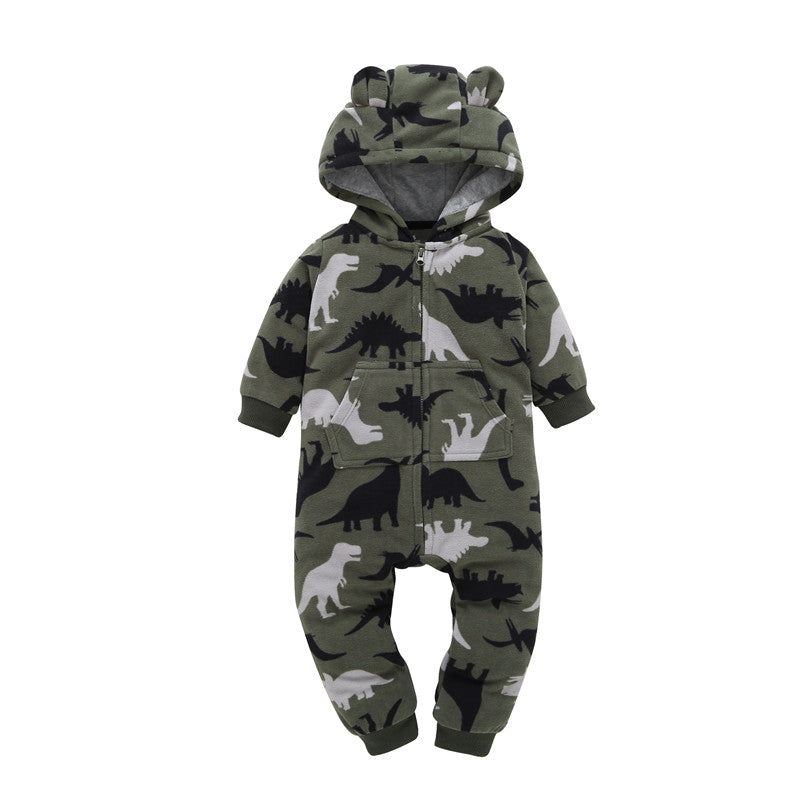 Cotton Dinosaur Long Sleeve Hooded Romper