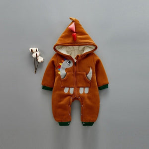 Newborn Cotton Cute Hooded Dinosaur Baby Fleece Lined Romper