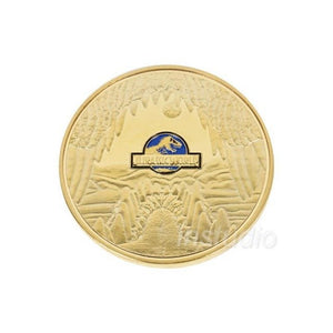 Jurassic World Period Golden And Blue Dinosaur Commemorative Coin Collectible