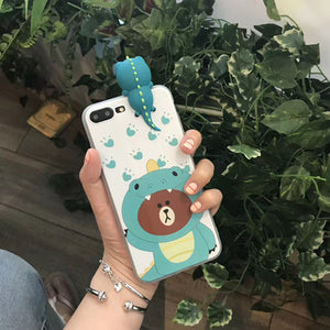 Dinosaur Bear Silicone Protective IPhone Case Cover