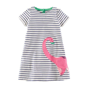 Pink Brontosaurus Striped Girls Dinosaur Dress