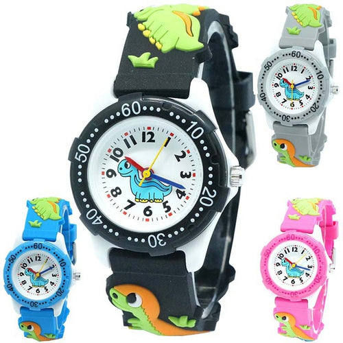 Quartz 3D Waterproof Dinosaur Wrist Watch 4 Color Options