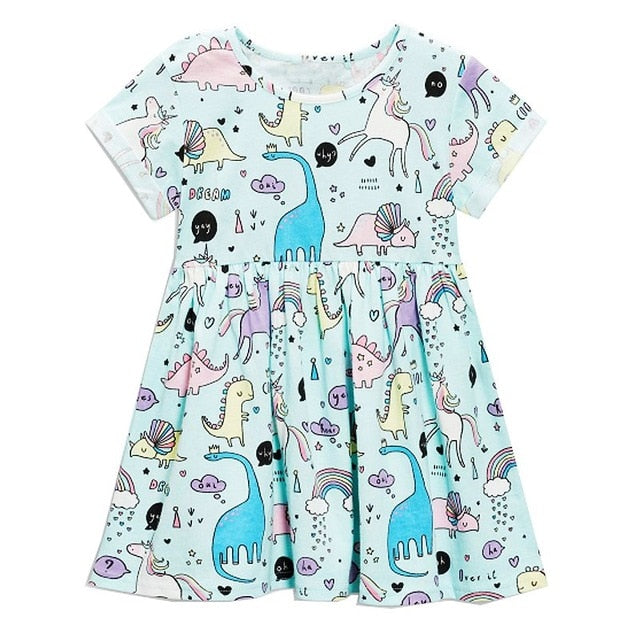 Cotton Unicorn Dinosaur Play-Time Dress