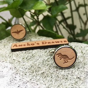 Dinosaur Laser Engraved Pterosaur and T-Rex Wooden Cufflinks Pair