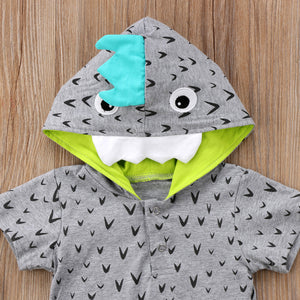 Cotton Pocketed Hooded Dinosaur Romper