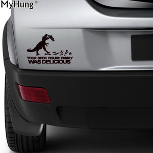20cm*13.2cm Your Stick Figure Family Was Delicious Dinosaur Car Laptop Decal Sticker