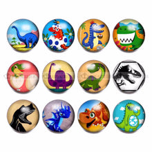 12 Piece Dinosaur Theme Glass Charms 18mm Snap Button For 20mm Snaps Bracelet Jewelry