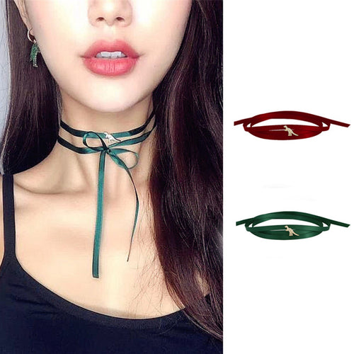 Satin Ribbon Dinosaur Choker Necklace