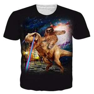 Sloth Takes A Five Star Uber Ride Dinosaur T-Shirt