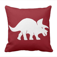 Triceratops Dinosaur Throw Pillow  case in Crimson Red