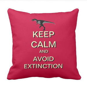 keep Calm And Avoid Extinction Dinosaur Throw Pillow Cover