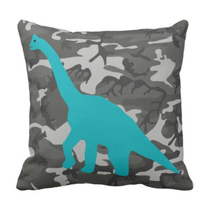 Brachiosaurus Camo Dinosaur Throw Pillow Cover