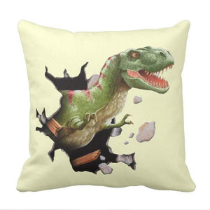 Break On Through Rex Dinosaur Throw Pillow Cover