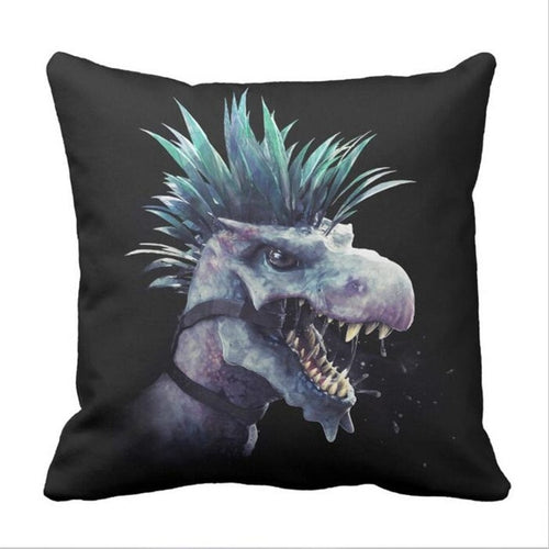 Punk Rock  Dinosaur Throw Pillow Cover