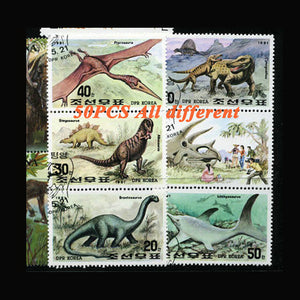 Prehistoric Dinosaur 50 Piece  Around The World Collectible Postage Stamps Collection