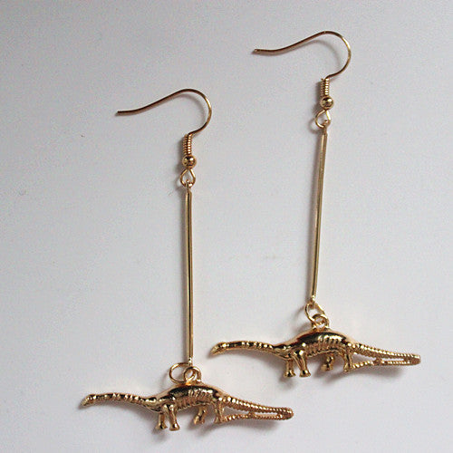 Dinosaur Dangle Gold Fashion Brontosaur Earrings
