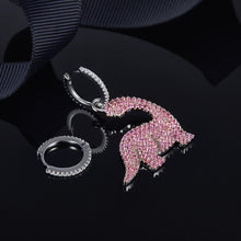 Cubic Zircon 925 Sterling Silver Pink Dinosaur Asymmetry Earrings