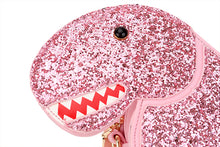 Sparkle Glitter  Dinosaur Vegan Leather Crossbody Mini Messenger Handbag Chain Purse