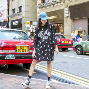 Street Wear Oversize Dinosaur T-Shirt Dress 2 Color Options