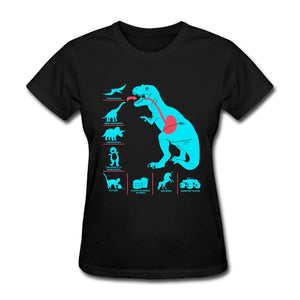 Dinosaur Food Chain 100% Cotton T-shirts Multiple Color Options