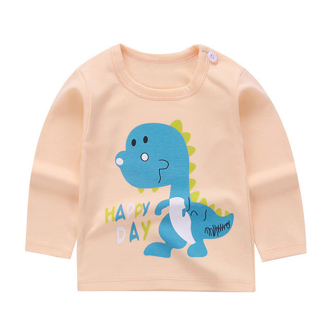 Long Sleeve Cotton  Happy Day Stegosaurus Graphic T-Shirt