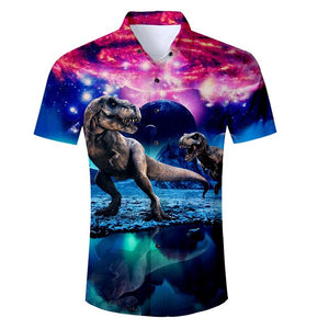 Galaxy Rex 3D Graphic Short Sleeve Button Down Shirt