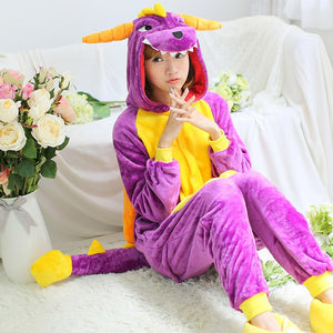 Flannel Purple Kigurumi Dragon Pajamas Onesie Costume