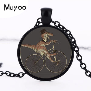 Resin Dapper Dinosaur On a Bike Pendant Vintage Chain Statement Necklace